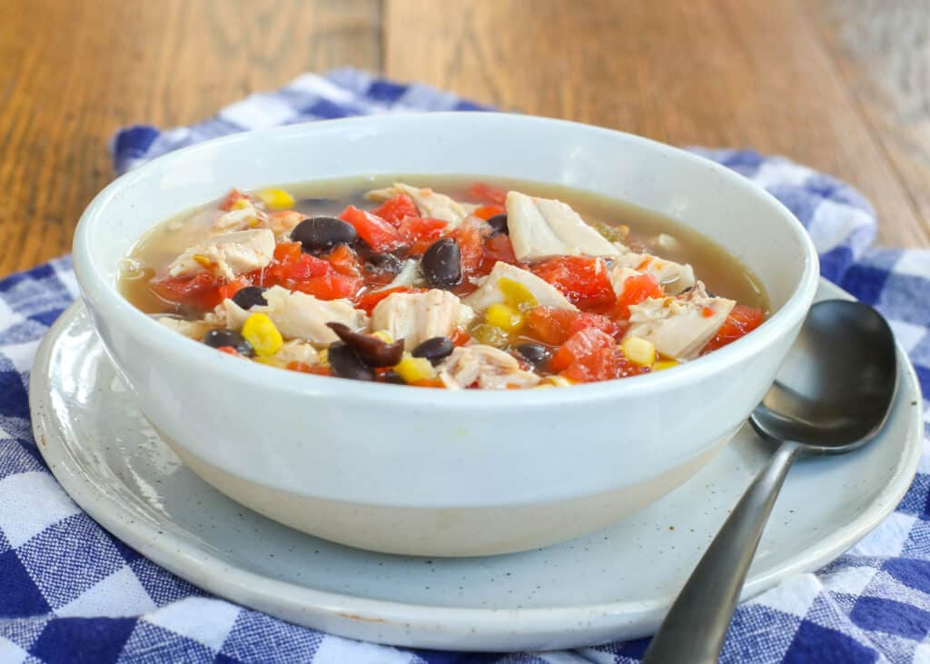 You only need ten minutes to stir together this Southwest Chicken Soup!