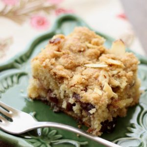 Cherry Bread with a Brown Sugar Almond Crust {traditional and gluten free recipes}