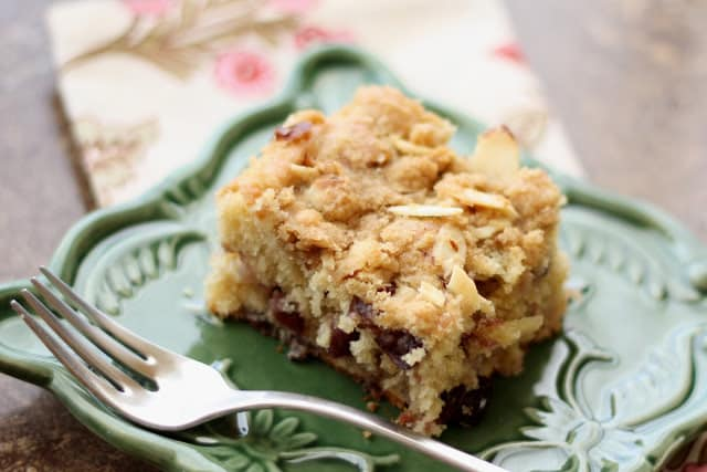 Cherry Coffeecake (or Muffins) with a Brown Sugar Almond Crust recipe by Barefeet In The Kitchen