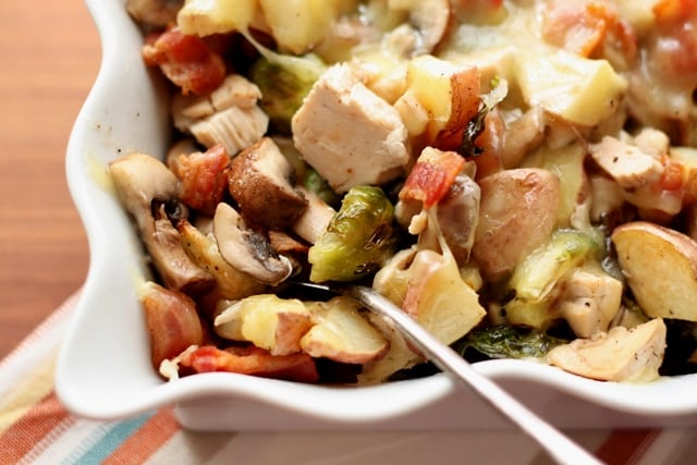 Roasted Potatoes, Brussels Sprouts, Mushrooms and Chicken recipe by Barefeet In The Kitchen