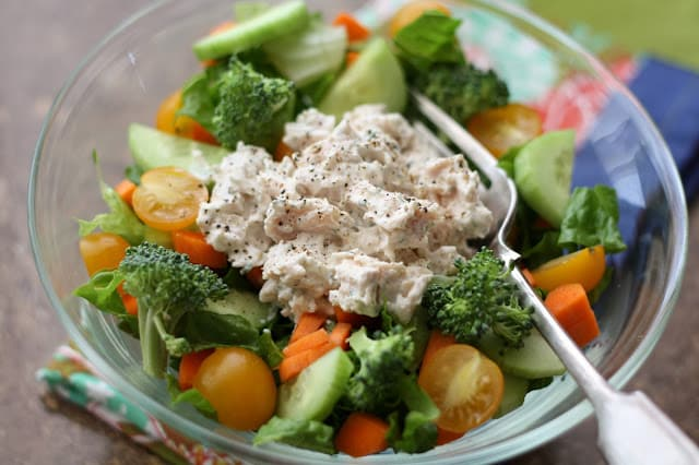 5 Minute Ranch Chicken Salad recipe by Barefeet In The Kitchen