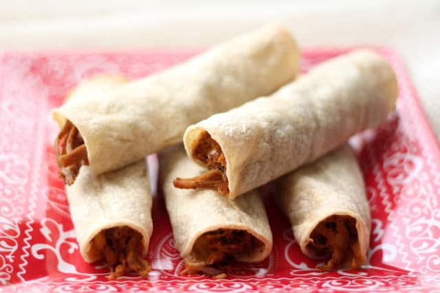 Crock-Pot Mexican Pork and Baked Taquitos recipe by Barefeet In The Kitchen