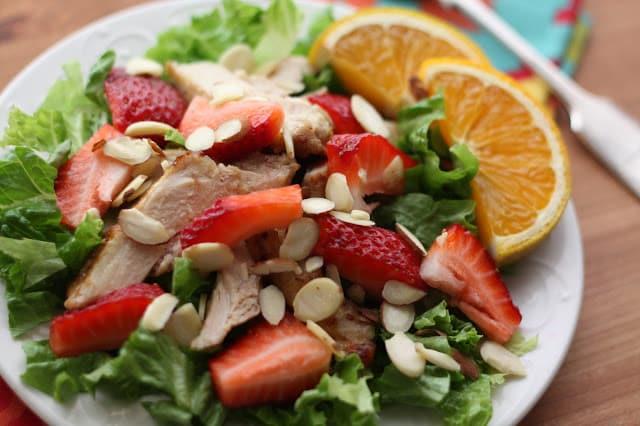 Strawberry Chicken Salad with Warm Orange Vinaigrette recipe by Barefeet In The Kitchen