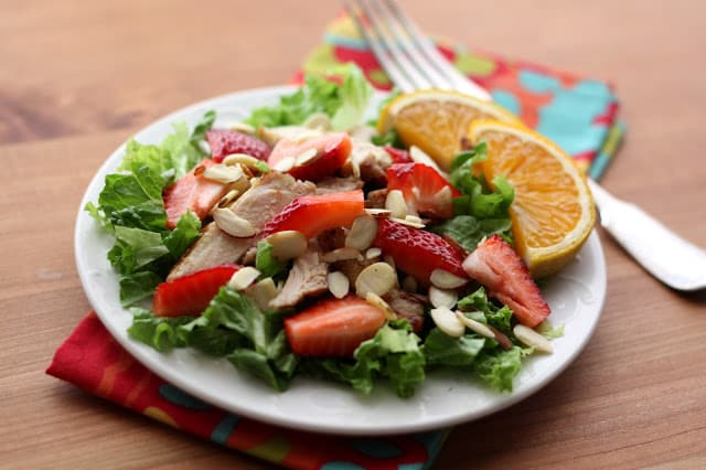 Strawberry Chicken Salad with Warm Orange Vinaigrette recipe by Barefeet In The Kitchen