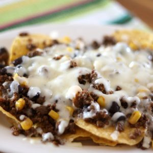 Black Bean, Beef and Corn Taco Nachos