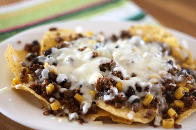 Black Bean, Beef and Corn Taco Nachos recipe by Barefeet In The Kitchen