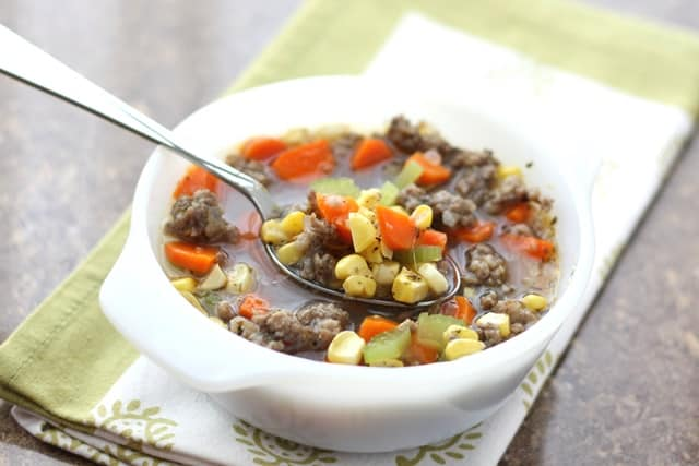 Italian Corn Soup with Sausage recipe by Barefeet In The Kitchen