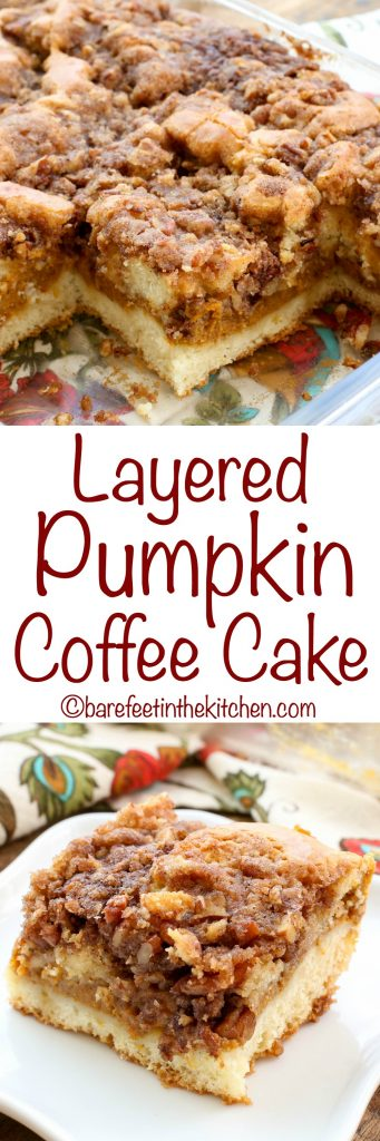 Layered Pumpkin Coffee Cake - get the recipe at barefeetinthekitchen.com
