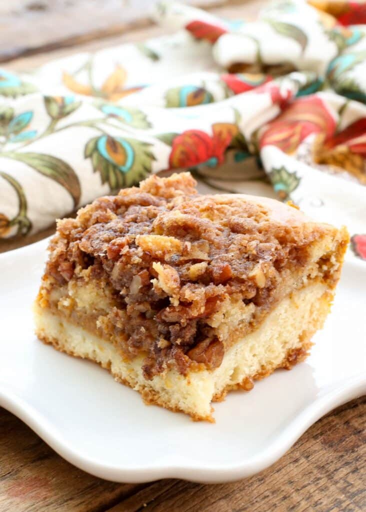 Layered Pumpkin Coffee Cake - traditional and gluten free recipes at barefeetinthekitchen.com