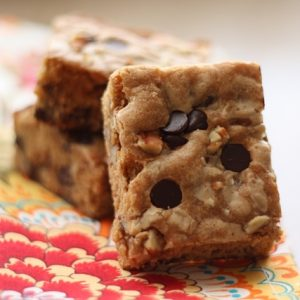 Biscoff Chocolate Chip Pecan Blondies