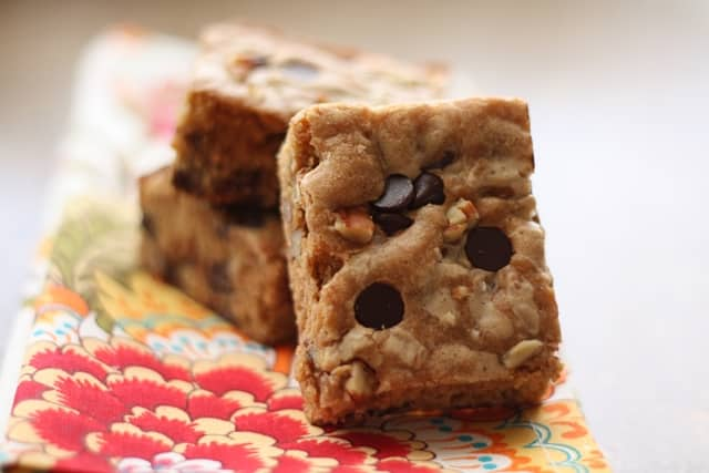 Biscoff Chocolate Chip Pecan Blondies recipe by Barefeet In The Kitchen