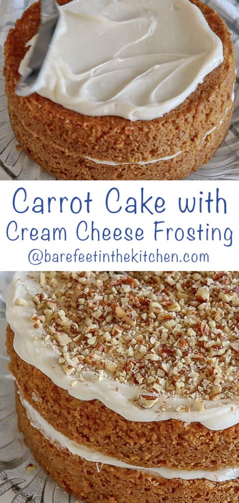 I never can resist this Carrot Cake with Cream Cheese Frosting! get the recipe at barefeetinthekitchen.com