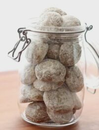 Pfeffernusse cookies in jar - get the recipe at barefeetinthekitchen.com