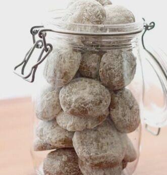 Pfeffernusse cookies in jar - get the recipe at barefeetinthekitchen.com