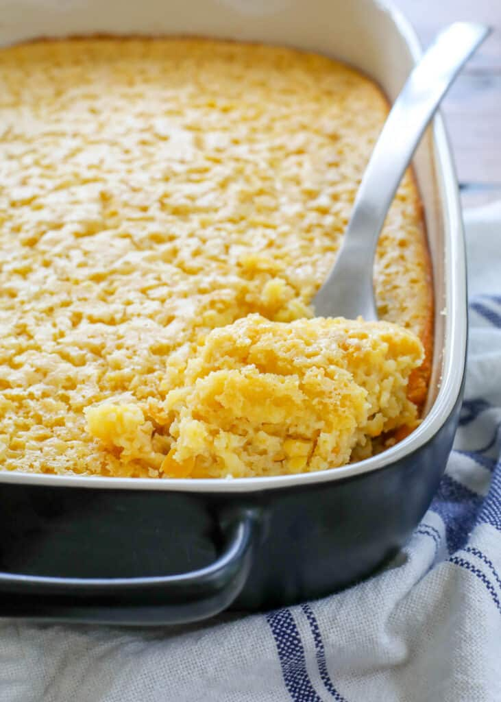 Classic Corn Pudding gets a new twist with this updated recipe - no box mix required! (Gluten free alternatives included too.) get the recipe at barefeetinthekitchen.com