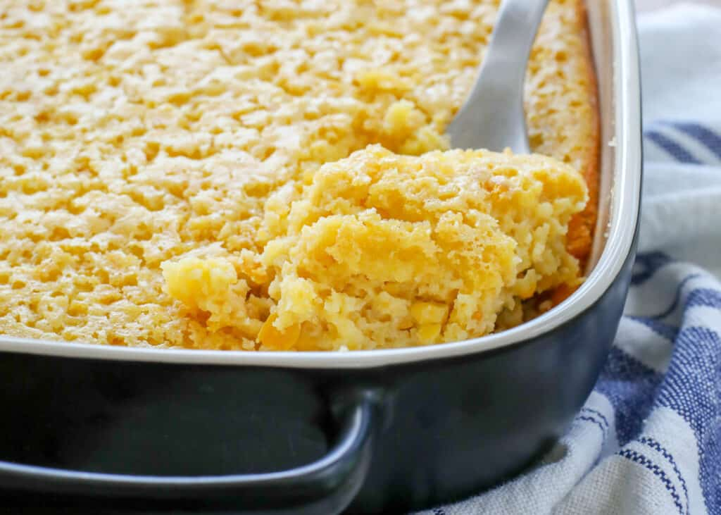 Corn Pudding Casserole is a classic comfort food! get the recipe at barefeetinthekitchen.com