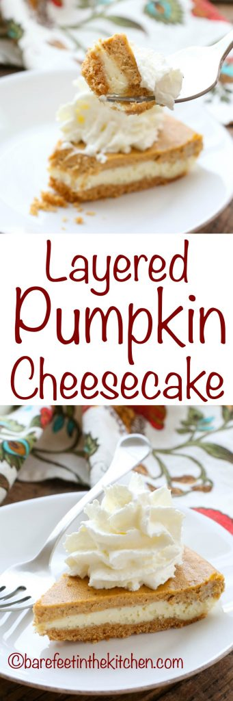 Layered Pumpkin Cheesecake is an irresistible dessert! get the recipe at barefeetinthekitchen.com