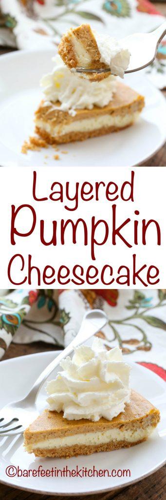 Layered Pumpkin Cheesecake is an irresistible dessert! get the recipe at barefeetinthekitchen.com