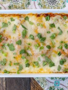 Pulled Pork Enchiladas are made with red or green chile sauce and plenty of cheese! get the recipe at barefeetinthekitchen.com