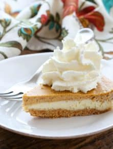 Cheesecake meets Pumpkin Pie in this family favorite! get the recipe at barefeetinthekitchen.com