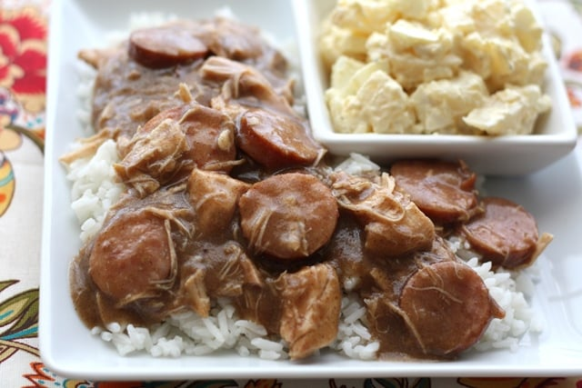 Cajun Chicken and Smoked Sausage Gumbo recipe by Barefeet In The Kitchen