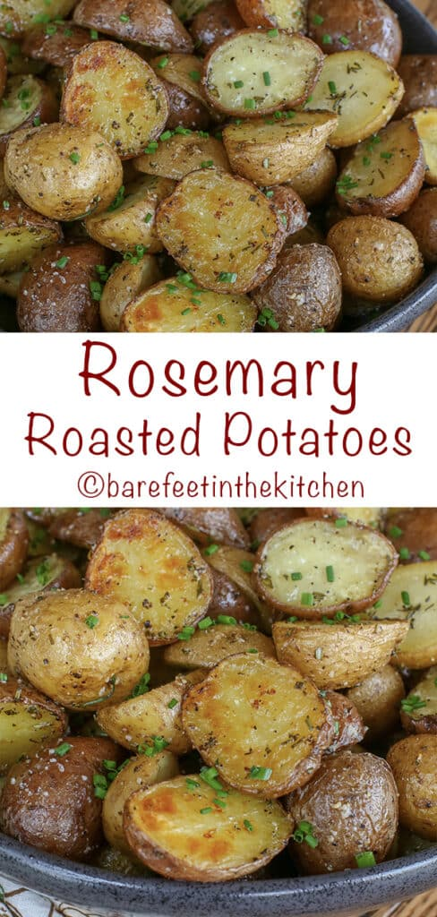 Rosemary Roasted Potatoes are about to become your favorite potato! find out how to make them at barefeetinthekitchen.com