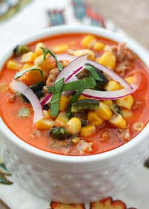 Chorizo Corn Chowder - get the recipe at barefeetinthekitchen.com