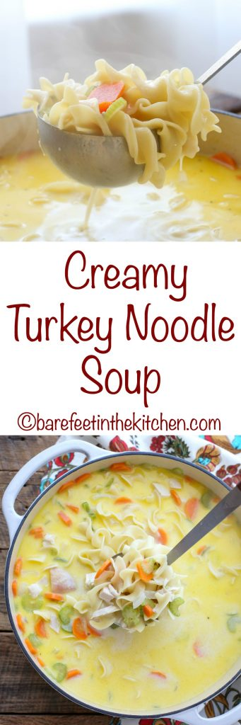 Creamy Turkey Noodle Soup works with turkey or chicken and it's perfect for a cold winter night - get the recipe at barefeetinthekitchen.com