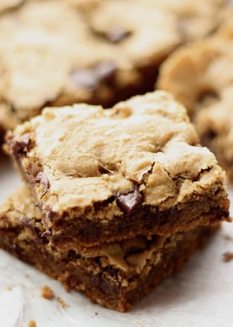 Classic Chocolate Chip Blondies recipe by Barefeet In The Kitchen