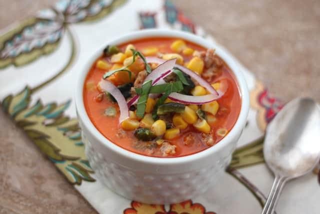 Spicy Chorizo Corn Chowder recipe by Barefeet In The Kitchen