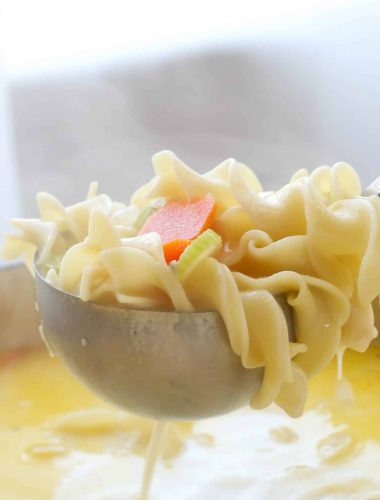 Creamy Turkey Noodle Soup - get the recipe at barefeetithekitchen.com
