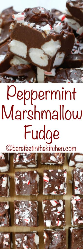 Peppermint Marshmallow Fudge - get the recipe at barefeetinthekitchen.com