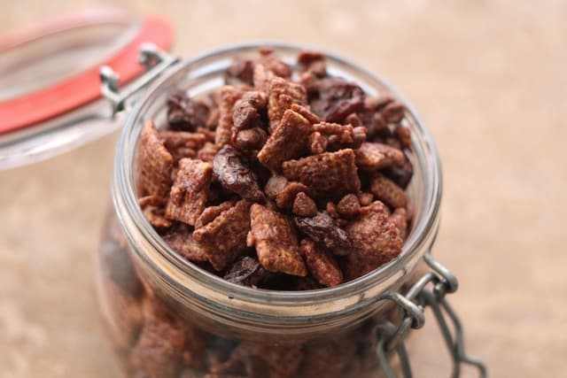 Cherry Chocolate Chex Party Mix Recipe by Barefeet In The Kitchen