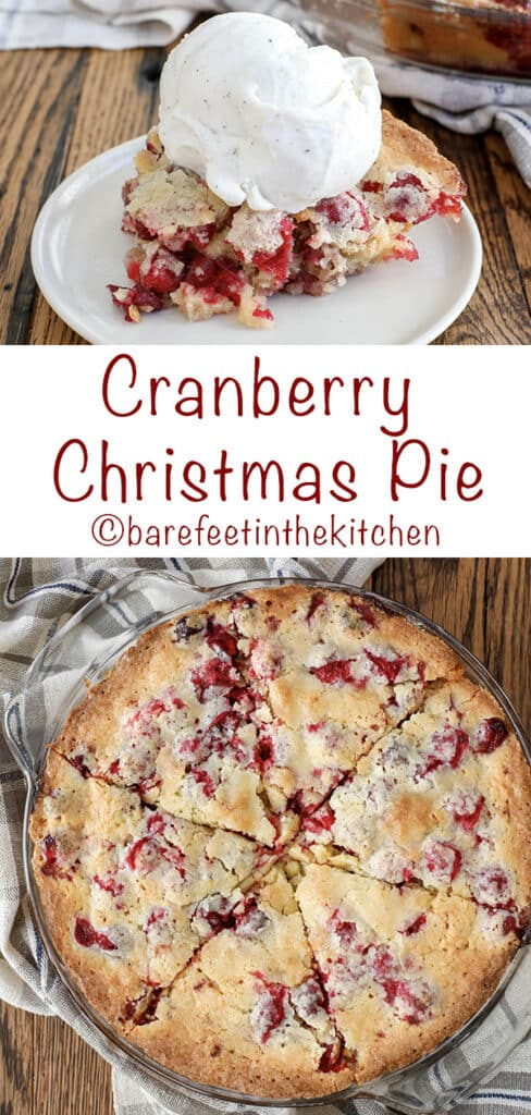 This Cranberry Christmas Pie is the reason I stash cranberries in the freezer! - get the recipe at barefeetinthekitchen.com