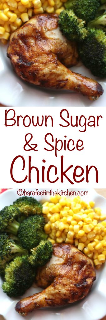 Brown Sugar Spiced Chicken is finger licking good! get the recipe at barefeetinthekitchen.com