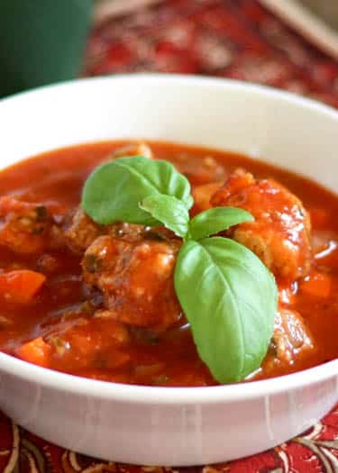 Italian Herb Meatball Soup is sure to become a favorite! Get the recipe at barefeetinthekitchen.com
