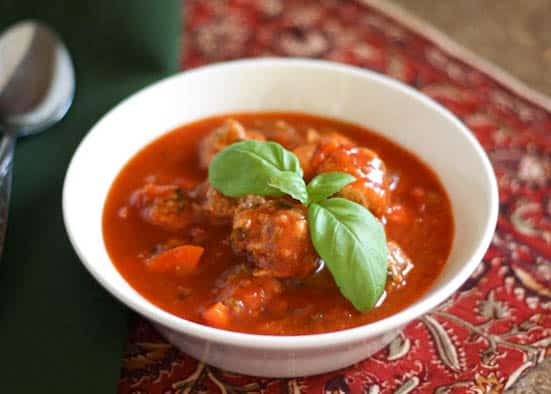Italian Herb Meatball Soup - get the recipe at barefeetinthekitchen.com