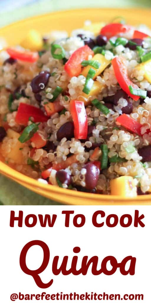 How To Cook Quinoa - get the best tips and more quinoa recipes at barefeetinthekitchen.com