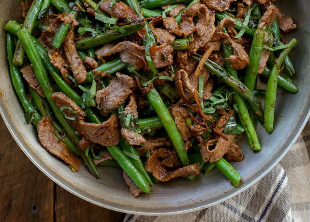 Thai Steak and Green Beans - get the recipe at barefeetinthekitchen.com