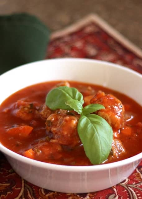 Italian Meatball Soup | barefeetinthekitchen.com