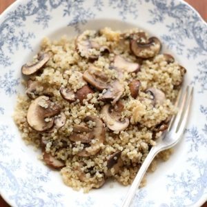 Roasted Garlic Quinoa with Mushrooms