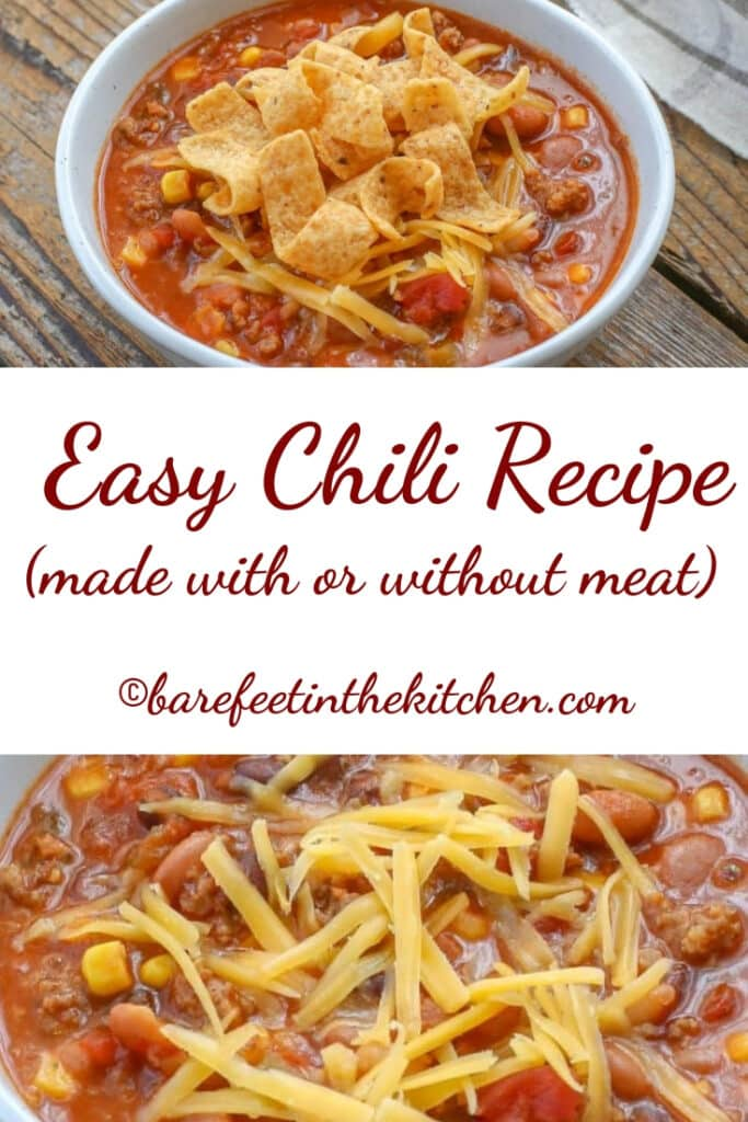 The easiest and tastiest chili ever can be made with or without meat! get the recipe at barefeetinthekitchen.com