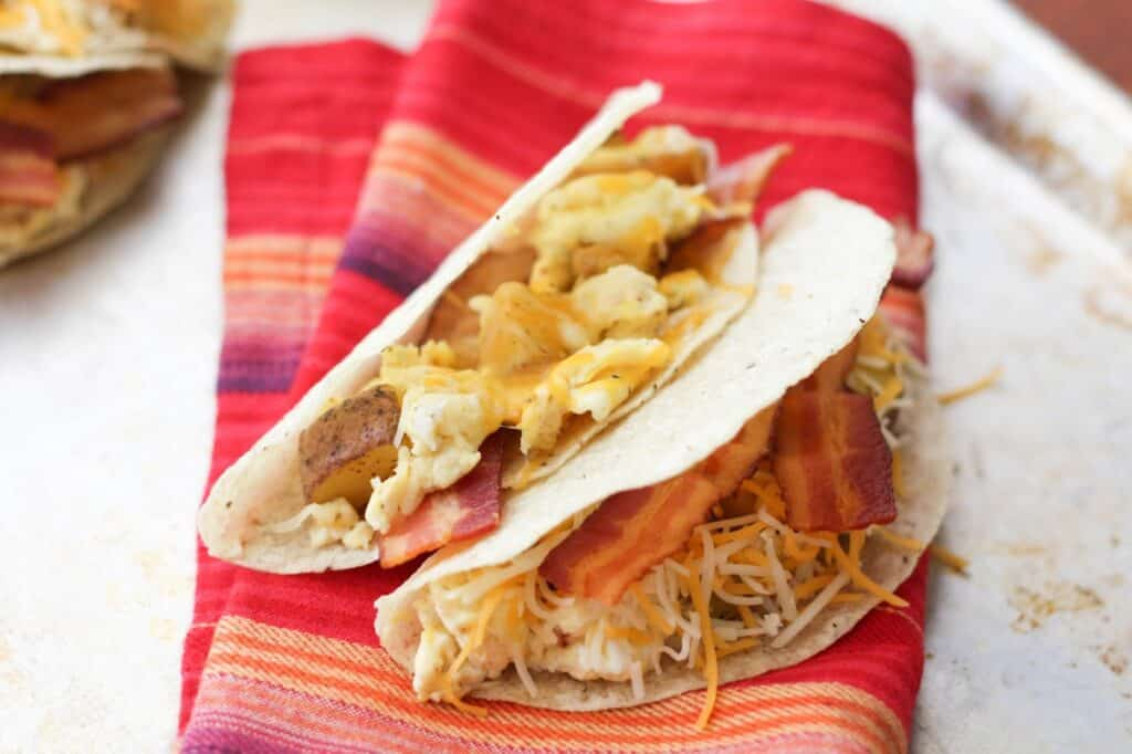 Bacon and Egg Breakfast Tacos recipe