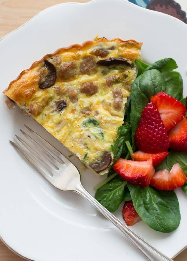 crustless quiche with vegetables and sausage