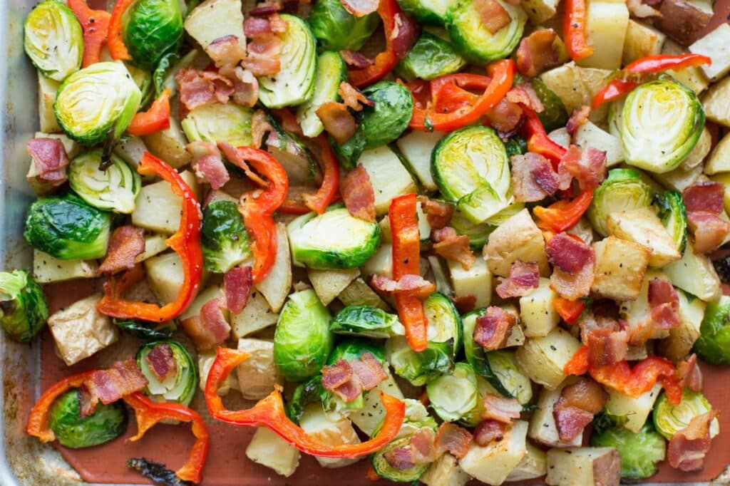 Roasted Potatoes Brussels Sprouts Red Pepper And Bacon