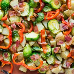 Roasted Potatoes, Brussels Sprouts, Red Pepper and Bacon