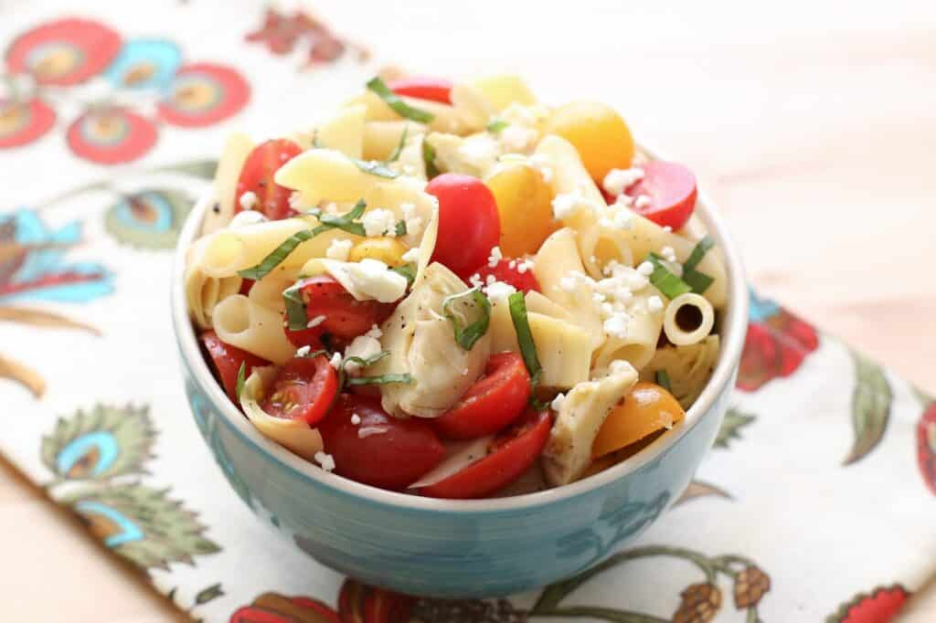 Italian Artichoke Tomato and Pasta Salad recipe by Barefeet In The Kitchen