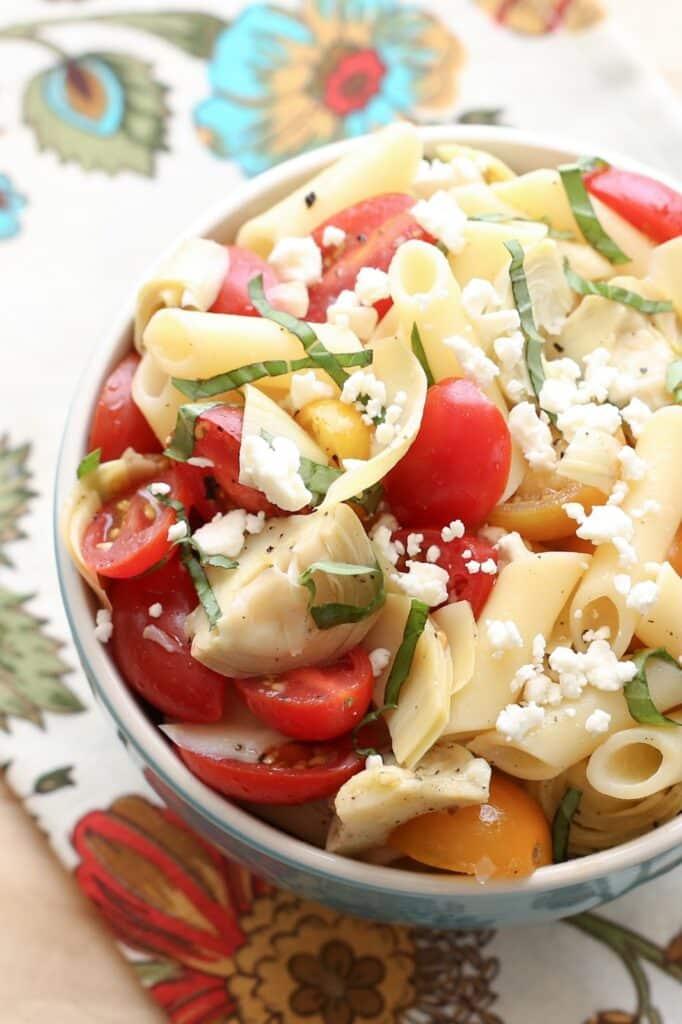 Artichoke Tomato Pasta Salad Recipe by Barefeet In The Kitchen