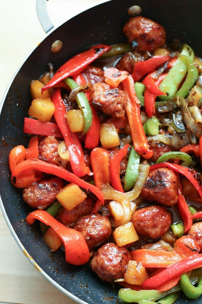 Sweet and Sour Ham Ball Stir Fry recipe by Barefeet In The Kitchen