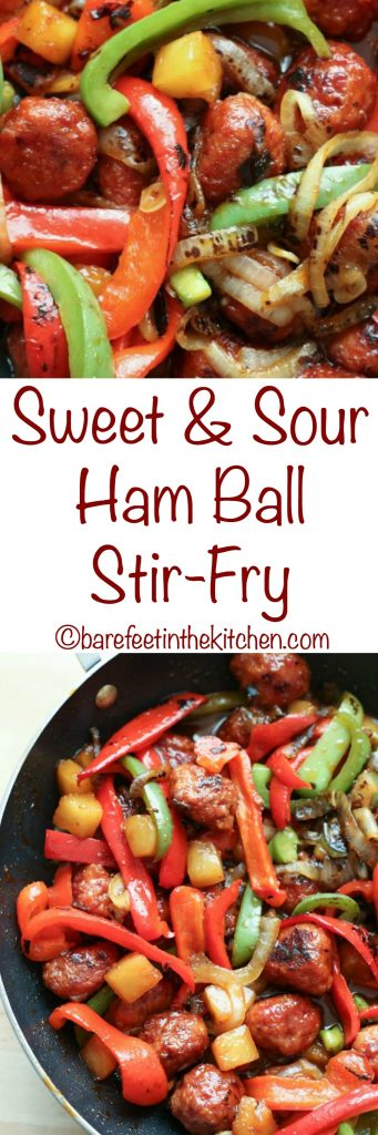 Sweet and Sour Ham Ball Stir-Fry is a kid favorite too! get the recipe at barefeetinthekitchen.com